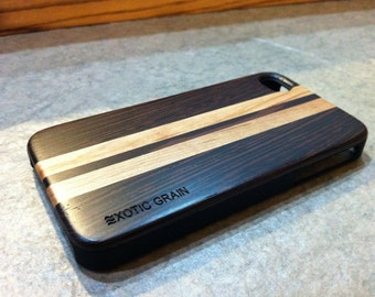 IPHONE 4 and 4s CASE , polished EXOTIC wedge /maple real wood   ,sharp looking black edge