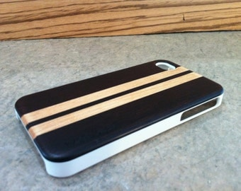 IPHONE 4 and 4s CASE hand polished exotic WENGE and maple  back ,real wood,white sharp looking edge