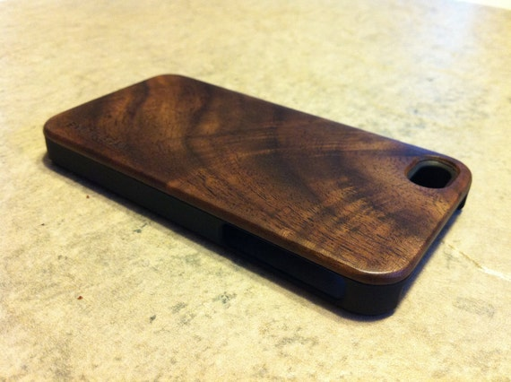 IPHONE 4 and 4s CASE , real wood rich polished EXOTIC black walnut  back ,sharp looking black edge