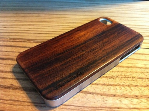 IPHONE 5/5s  CASE hand  polished exotic bois de rose back ,real wood ,sharp  metal looking  silver edge edge