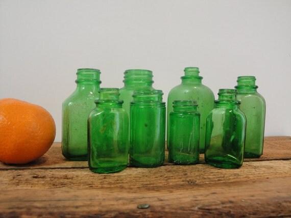 Lot of Vintage Green Glass Bottles
