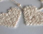 2 PCS White Lace Heart Applique for Wedding Dress Bridal Dress Hat Handbag Costume Altered Art  Couture DIY Fabric Supplies
