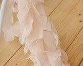 Chiffon Lace Trim Ivory Pink Leaves Dress Trim DIY Handbag Hat Fabric Crafts Costume Alterations Supplies 1 yard