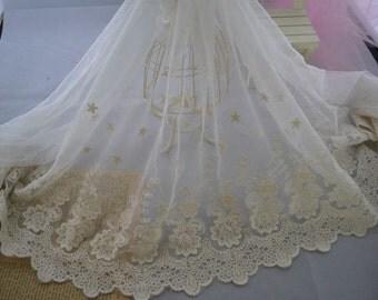 Off White Luxury Cotton Embroidered Wedding Lace Trim Roses Wedding Dress Bridal Dress Bra Lace Trim Mesh Supplies 2 yards