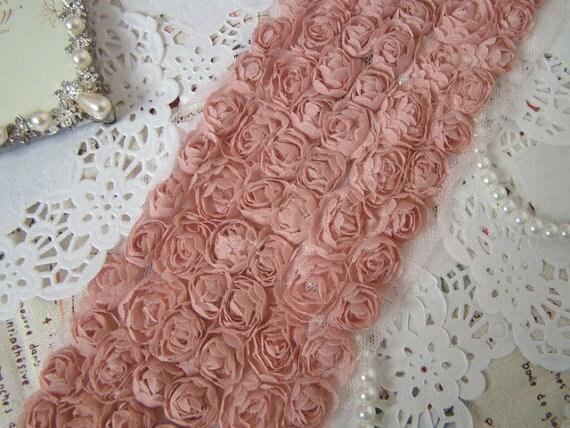 3D Soybean Pink Chiffon Rose Lace Trim Grenadine Mesh 6 Rows Trim Alterations DIY Fabric Crafts Supplies 4.3'' Wide 1 Yard