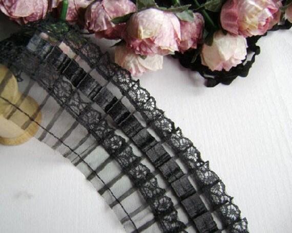 Gothic Style Black Folded Tulle Lace Trim 2 yards