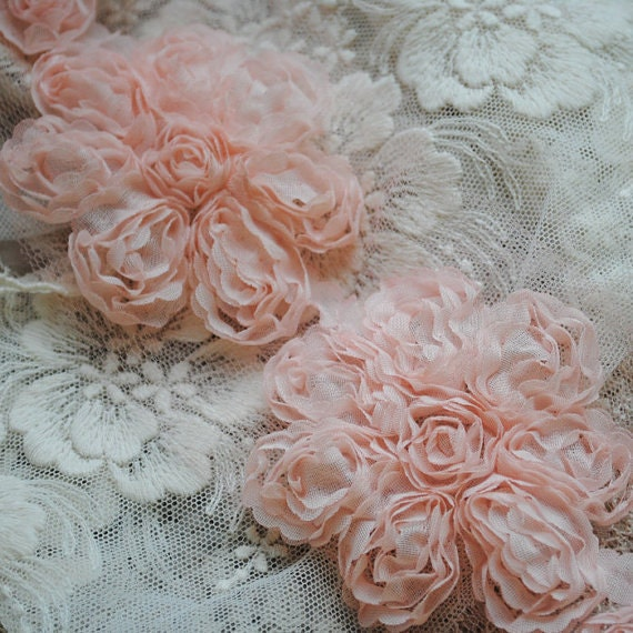 Items similar to Retro Pink Fabric Flowers Wedding Dress ...