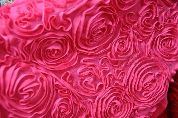 3D  Lace Fabric Rosy Pink Rosette Photography Cloth Fabric Bridal Dress Alterations DIY Wide Costume Dress Fabric Crafts Supplies