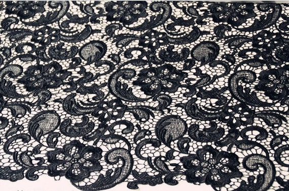 Black Lace Fabric Crocheted Retro Florals Hollowed Pattern Fashion Design