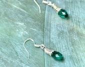 Wire wrapped earrings, silver earrings emerald earrings crystal beads earrings sterling silver earrings women teens fashion jewelry