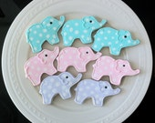 Decorated Baby Shower Cookies- Polka Dot Elephants in your color choices