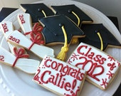 2012 Graduation Decorated Cookies- Caps and Diplomas and personalized congrats
