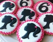 Barbie Silhouette and Number decorated cookies in hot pink and black- perfect for your birthday party favor