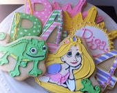 Tangled Custom Decorated Cookies for your Rapunzel themed birthday party