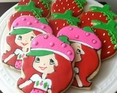 Strawberry Shortcake decorated cookies, great birthday party favors
