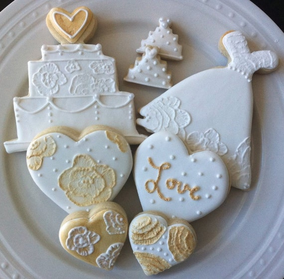 wedding cake cookies for bridal shower decorated white and gold wedding dress and cake by 22244
