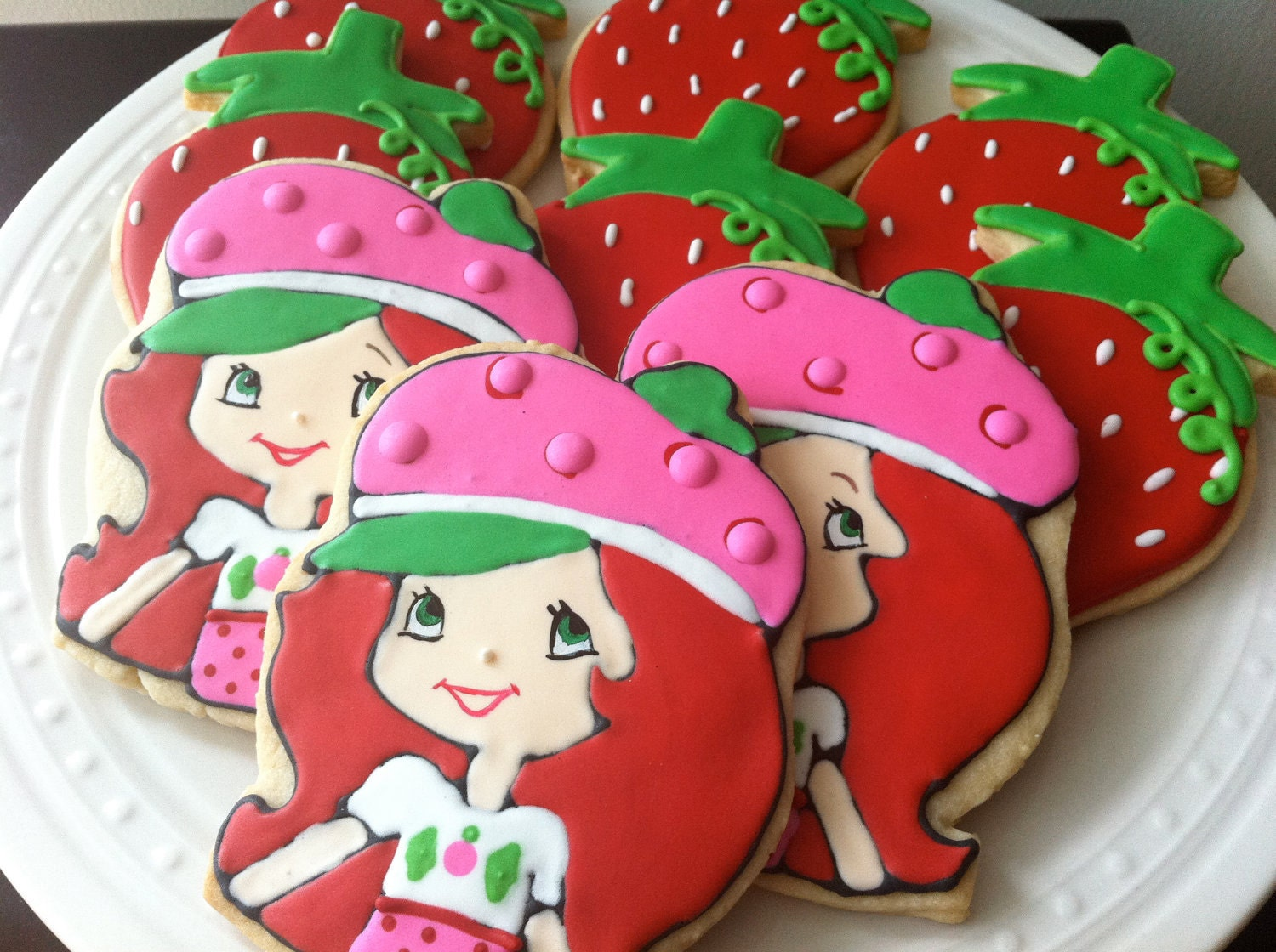 Items similar to Strawberry Shortcake decorated cookies, great ...