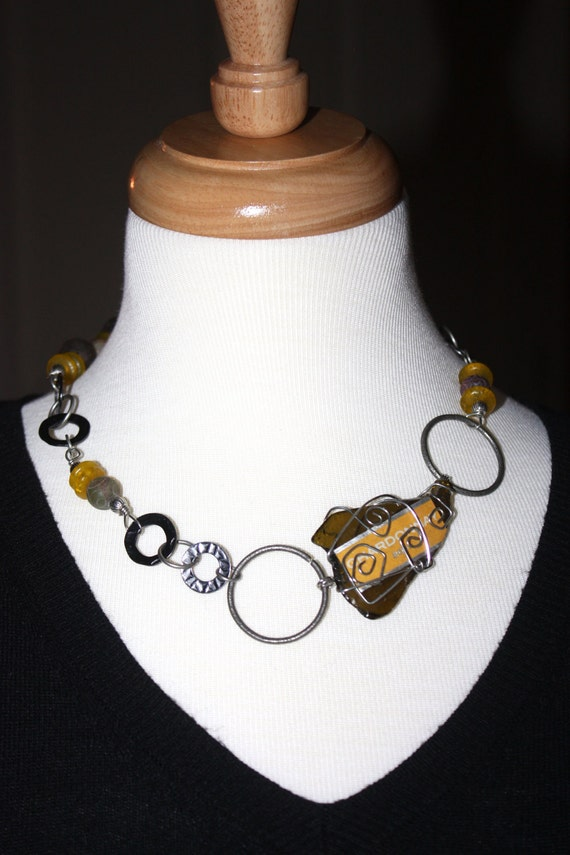 Necklace - Wine Bottle Glass and Label