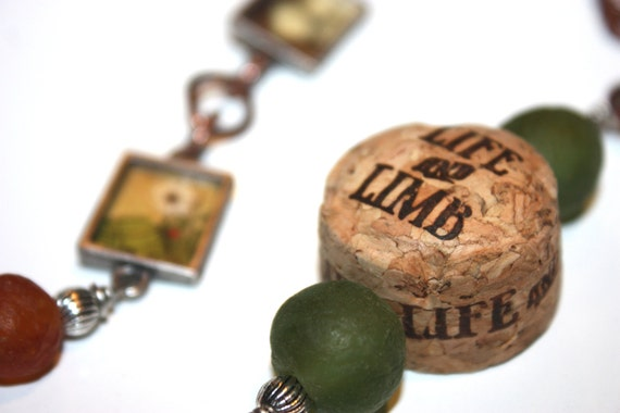 Necklace - Cork and Label from Life and Limb with Recycled Glass