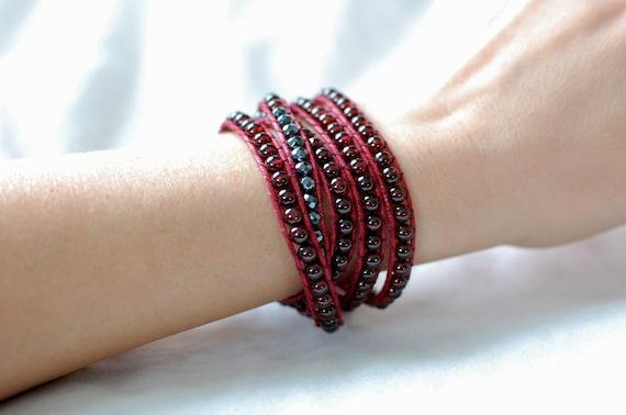 Garnet Wrap Bracelet, with Hematite