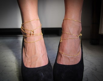 Gold multi layered anklets