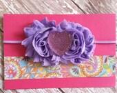 Baby headband, photo prop, purple headband, lavender rosette headband with heart center