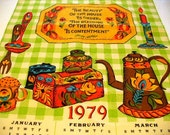 Vintage tea towel: Vintage 1979 groovy Kitchen tea towel / wall hanging