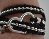 Leather Bracelet with silver plated heart