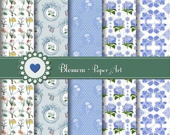 Digital Paper Shabby Chic Digital Paper Pack, Light Blue Vintage Flowers, Digital Scrapbooking Paper - INSTANT DOWNLOAD - 1042