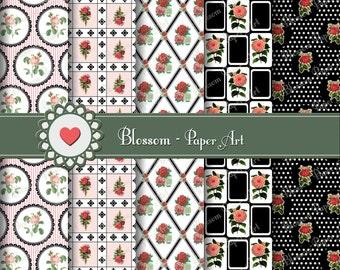 Black and White Digital Paper Red Roses Digital Paper Pack, Digital Scrapbooking, Download Image - 300 dpi - 1059