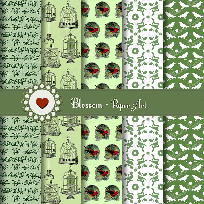 Papeles decorativos para imprimir verde pajaritos - Papeles decorativos pared ...