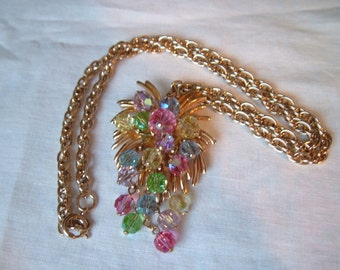 Vintage Pastels Pink Green Yellow Blue Crystal Bead Cluster Dangle Pendant Necklace Chain