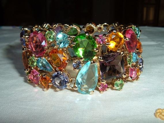 Vintage FAB Multi Color Shape Rhinestone BIG Heavy Bracelet Wow