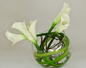 Real Touch Calla Lily Arrangement with White Calla Lilies Artificial Flowers in Round Glass Vase for Artificial Faux Arrangement Home Decor