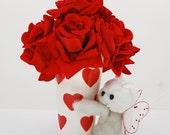 Valentine Silk Rose Velvet Heart Clay Pot