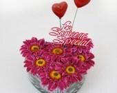 Silk Arrangement with Fuchsia Artificial Daisy Flowers in Heart Glass Vase Artificial Faux Arrangement Home Decor