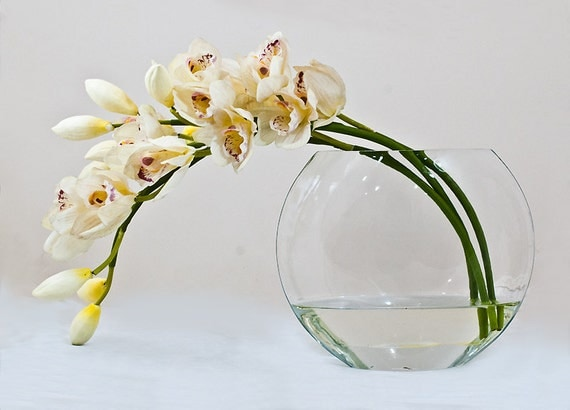 10% DISCOUNT - Real Touch Orchid White Faux Floral Glass Vase