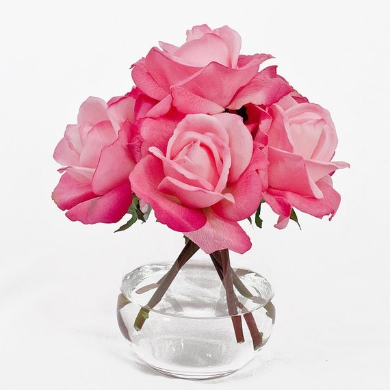 Real Touch Artificial Rose Arrangement with Faux Pink by flovery