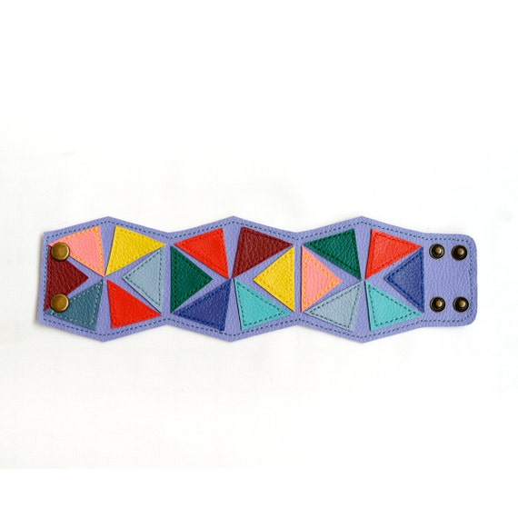 Purple Geometric Cuff Bracelet  (faux leather)