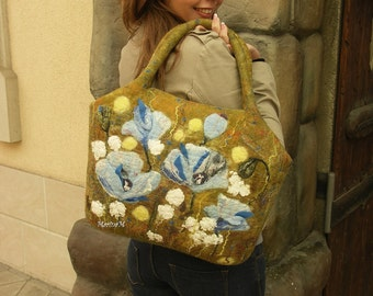 Nuno Felted Purse handbag Himalayan poppies