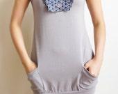 Cute Grey Tshirt Dress with Bow n Pockets (M)