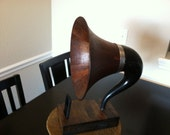 Acoustic  iPhone Speaker Dock Utilizing a Vintage Antique Wood Gramophone Horn -Ready to ship in a week