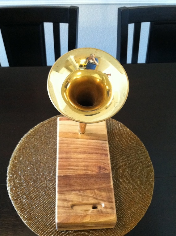 Acoustic iPhone Speaker Dock Utilizing a Salvaged Antique Vintage Trumpet - CUSTOM - MADE to ORDER-