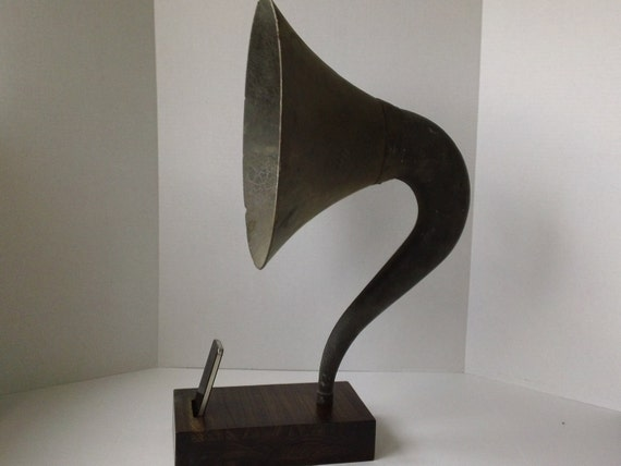 Acoustic  iPhone Speaker Dock Utilizing a Vintage Composite  Magnavox Style Gramophone Horn - READY to SHIP -