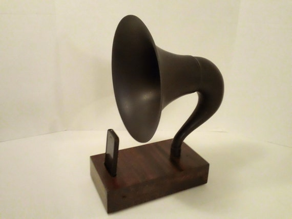 Acoustic  iPhone Speaker Dock Utilizing a Vintage  Gramophone Phonograph Horn -CUSTOM - MADE to ORDER-