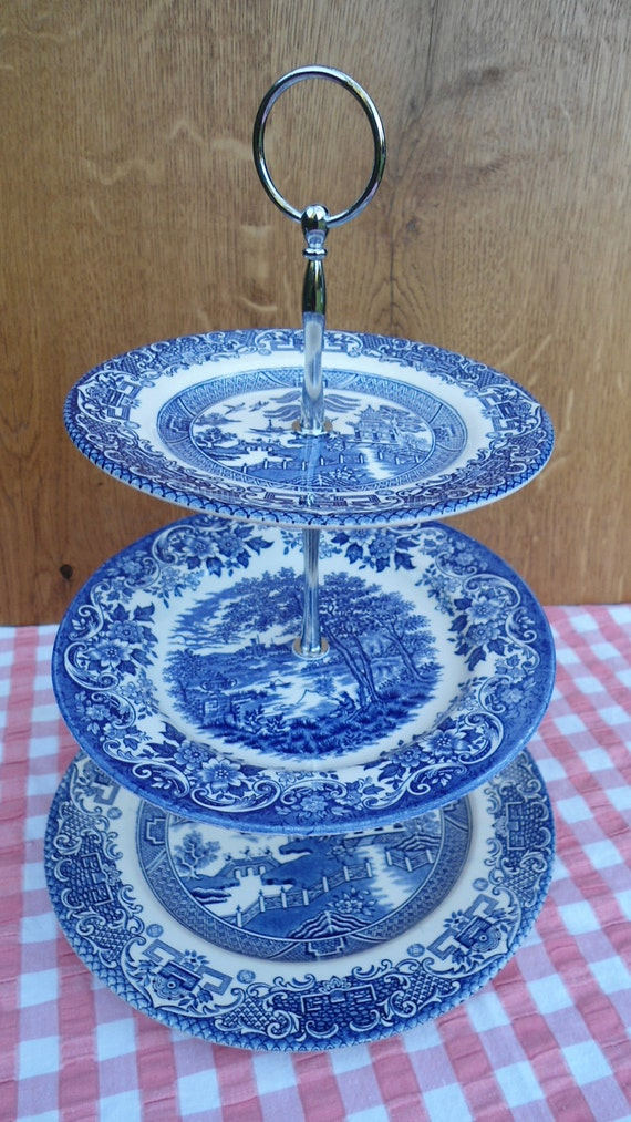 Gorgeous 3 Tier Vintage Cake Stand. Blue & White Old Willow China
