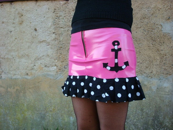 Rockabilly skirt polka dot pink pvc anchor psychobilly punk goth fétish vinyl pvc tattoo custom diy