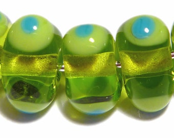 Lime Green Triangles Handmade Glass Lampwork BEADS Lime Turquoise HAndshaped Organic Triangles SET of 6