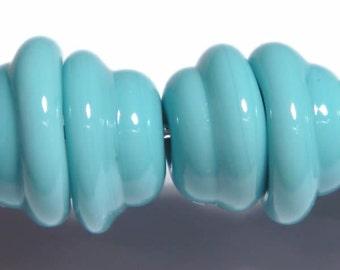 TURQUOISE Bells Caps Handmade Glass Lampwork BEADS Turquoise Blue Hand Shaped Bead Cap Like Beads SET of 6