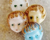 RESERVED FOR MAYA  Vintage Baby Doll Face Buttons - La Mode -Set of 4 - Porcelain / Glass - Germany